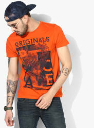 Orange Printed Slim Fit Round Neck T-Shirt