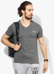 Grey Textured Straight Fit V Neck T-Shirt