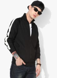 Black Solid Regular Fit Sweat Jacket