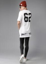 White Printed Longline T-Shirt
