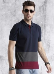 Navy Blue Solid Regular Fit Polo T-Shirt