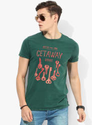 Green Printed Regular Fit Round Neck T-Shirt
