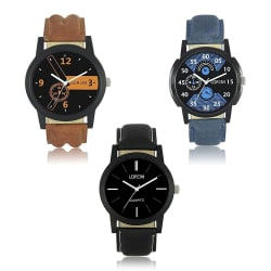 Maan International Loremen Stylish 3 Combo Watch For Boys