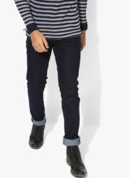 Navy Blue Solid Low Rise Slim Fit Jeans