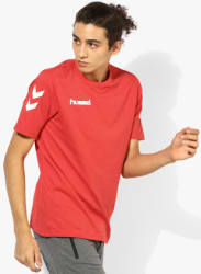 Core Cotton Red Round Neck T-Shirt