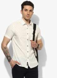 Off White Printed Slim Fit Casual Shirt