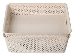 Miamour Rattan Look 3 Piece Plastic Storage Basket, Beige