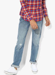 Blue Washed Low Rise Straight Fit Jeans