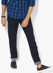 Navy Blue Solid Low Rise Straight Fit Jeans
