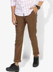Brown Textured Regular Fit Chinos