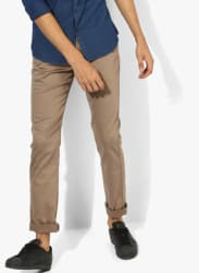 Beige Textured Slim Fit Chinos