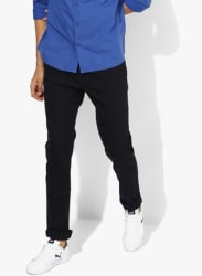 Navy Blue Textured Regular Fit Chinos