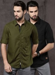 Pack Of 2 Black Solid Casual Shirts