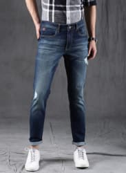 Blue Mid-Rise Slim Fit Jeans