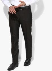 Purple Solid Slim Fit Formal Trouser