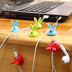 Magnusdeal Silicone Bunny Cable Holder (Multicolour) - Pack of 6