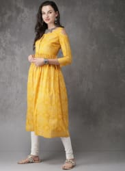 Mustard Yellow Printed Kurta