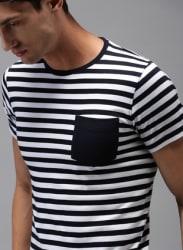 White Striped Round Neck T-Shirt