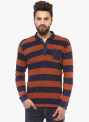 Rust Striped Polo T-Shirt