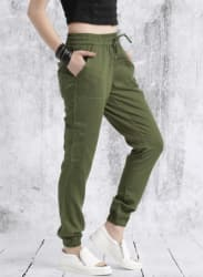 Olive Green Regular Fit Solid Joggers