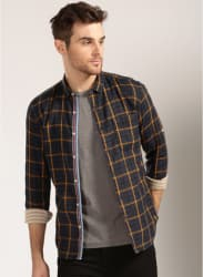 Navy Blue Checked Regular Fit Casual Shirt