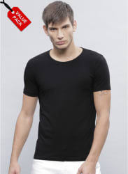 Pack Of 2 Multicoloured Solid Regular Fit Round Neck T-Shirts