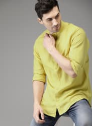 Yellow Solid Casual Shirt
