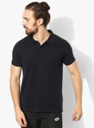 Navy Blue Solid Polo Collar Tshirt