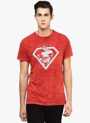 Red Graphic Round Neck T-Shirt