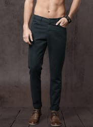 Navy Blue Solid Trousers