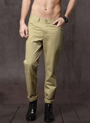 Khaki Solid Trousers