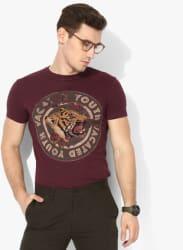 Maroon Printed Slim Fit Round Neck T-Shirt