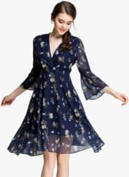 Navy Blue Coloured Printed Skater Dress