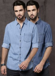 Men Pack Of Two Solid Denim Regular Fit Casual Shirt