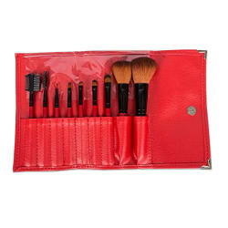 Puna Store 9 Piece Makeup Brush Set (Red)