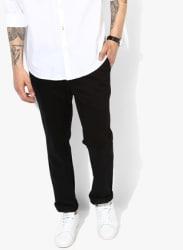 Black Solid Regular Fit Chinos
