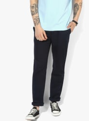 Navy Blue Solid Slim Fit Chinos