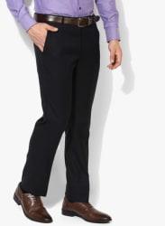 Navy Blue Solid Slim Fit Formal Trouser