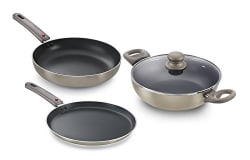Prestige Omega Deluxe Metallica Aluminium Kitchen Set (3-Pieces, Metallic Grey)