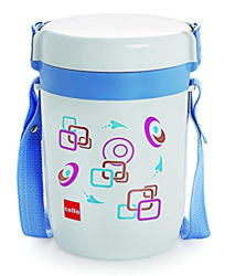 Cello Elite Leakproof Food Grade Microwave-Safe Plastic 3 Container Lunch Box with Strap Carry Case(Multicolour)