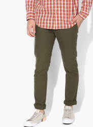 Olive Textured Slim Fit Chinos