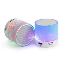 Wireless Mini LED Lights Bluetooth Speaker - FM Radio, Microphone & MicroSD Slot