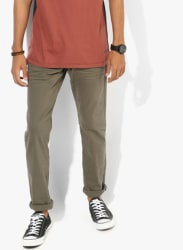 Olive Solid Low Rise Slim Fit Jeans