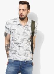 Grey Printed Regular Fit Polo T-Shirt