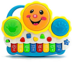Vivir Drum Keyboard Musical Toys with Flashing Lights, Animal Sounds And Songs Multicolor