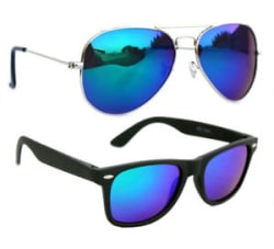 Combo Of Aviator With Mirror Blue Shade and Premium Style Sunglasses