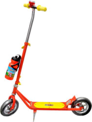 Sunshine Gifting Two Wheeled Metal Skate Scooter with Heavy Wheels and Height Adjustable Handlebar, Handlebar Bell , Water Bottle and Foot Brake and Folding stand [RED] (Red)
