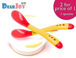 DearJoy Silicone Tip Heat Sensitive Spoons/Temperature Sensing Spoons (Red - 2 Spoons)