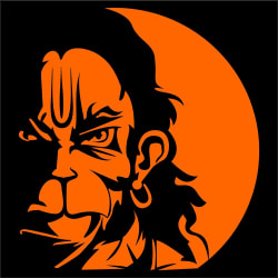 12 x 8 inches Vayuputhra Angry Rudra Hanuman Reflective Vinyl Decals Stickers for Car Rear Glass-Golden