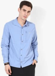 Blue Textured Casual Shirt